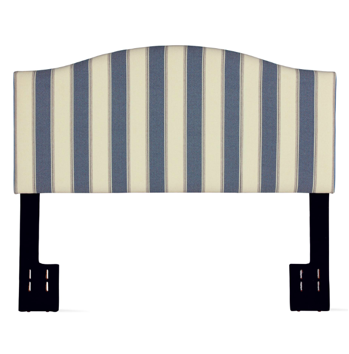 Striped Linen Headboard Blue and White