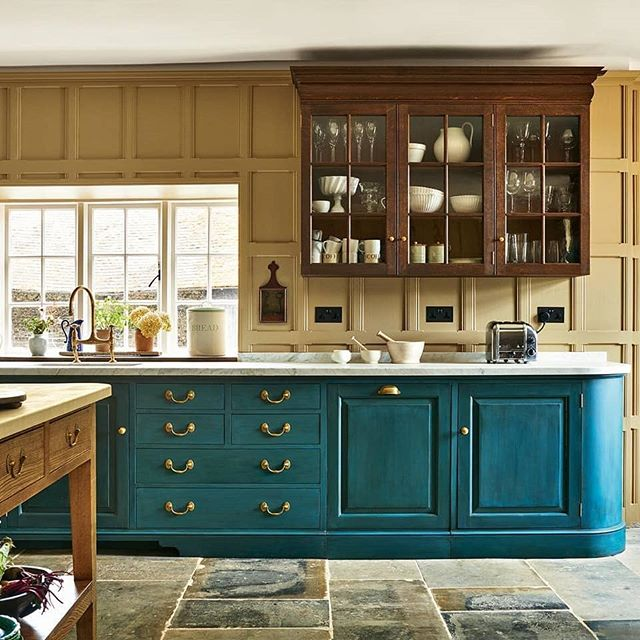 Turquoise cabinetry kitchen