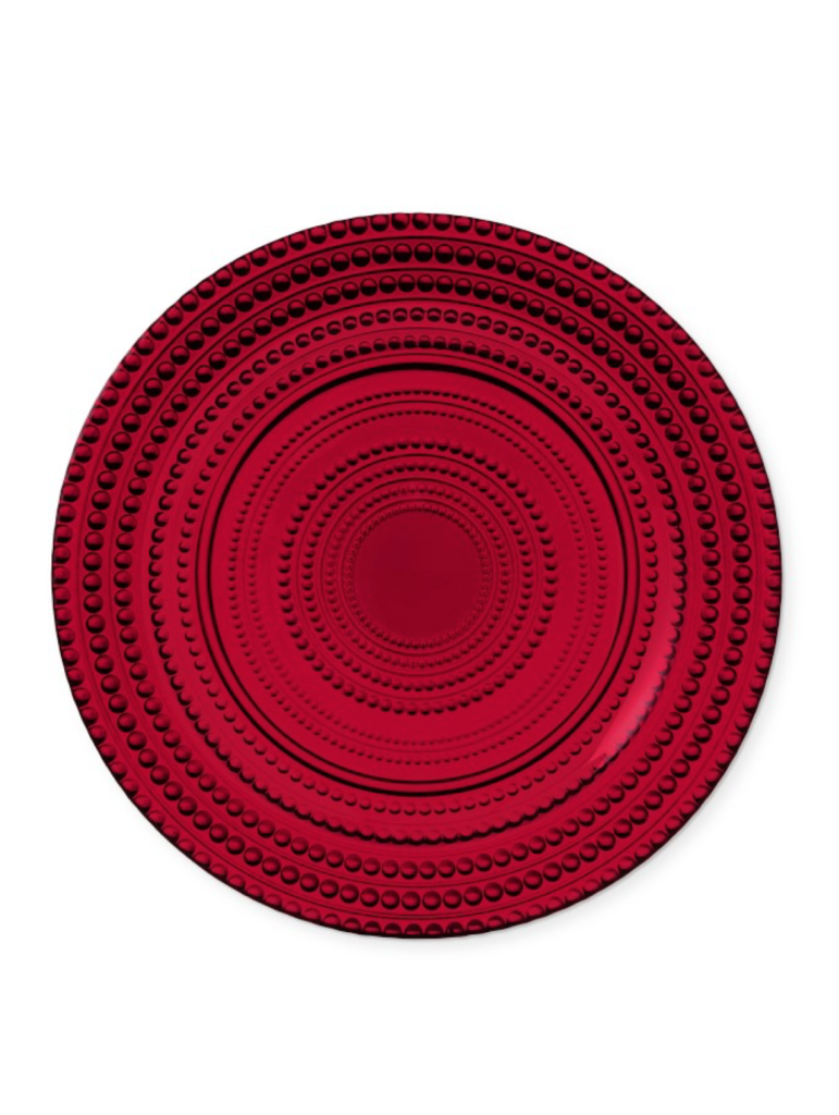 Red Beaded Glass Salad Plates Set