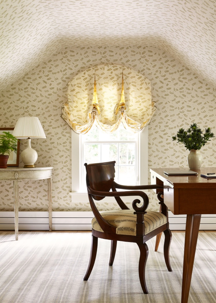 Attic room with wallpaper by McGrath II.