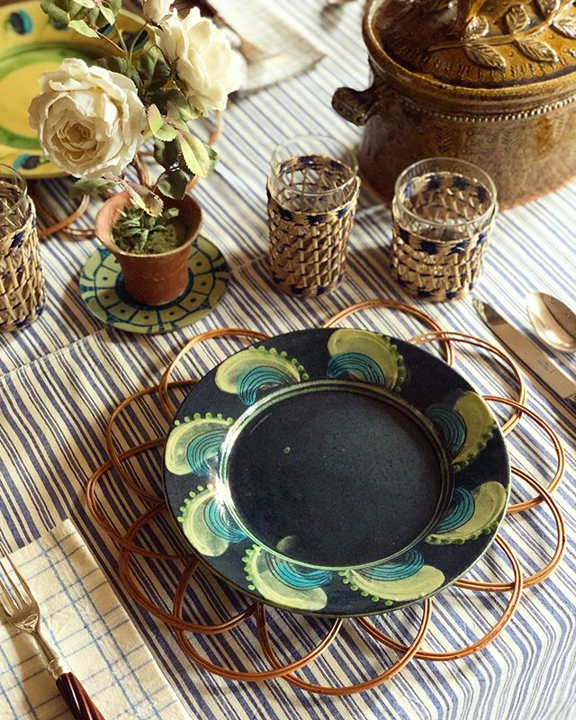 Autumn table setting with stripe tablecloth and rattan charger by Cutter Brooks Shop