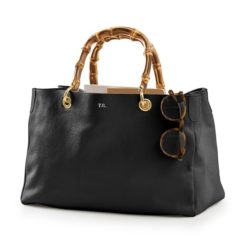 Black Leather Bamboo Handle Handbag