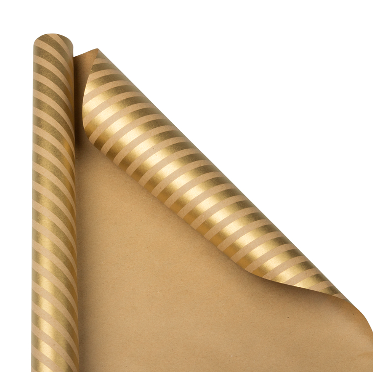 Brown Kraft and Gold Stripe Gift Wrapping Paper