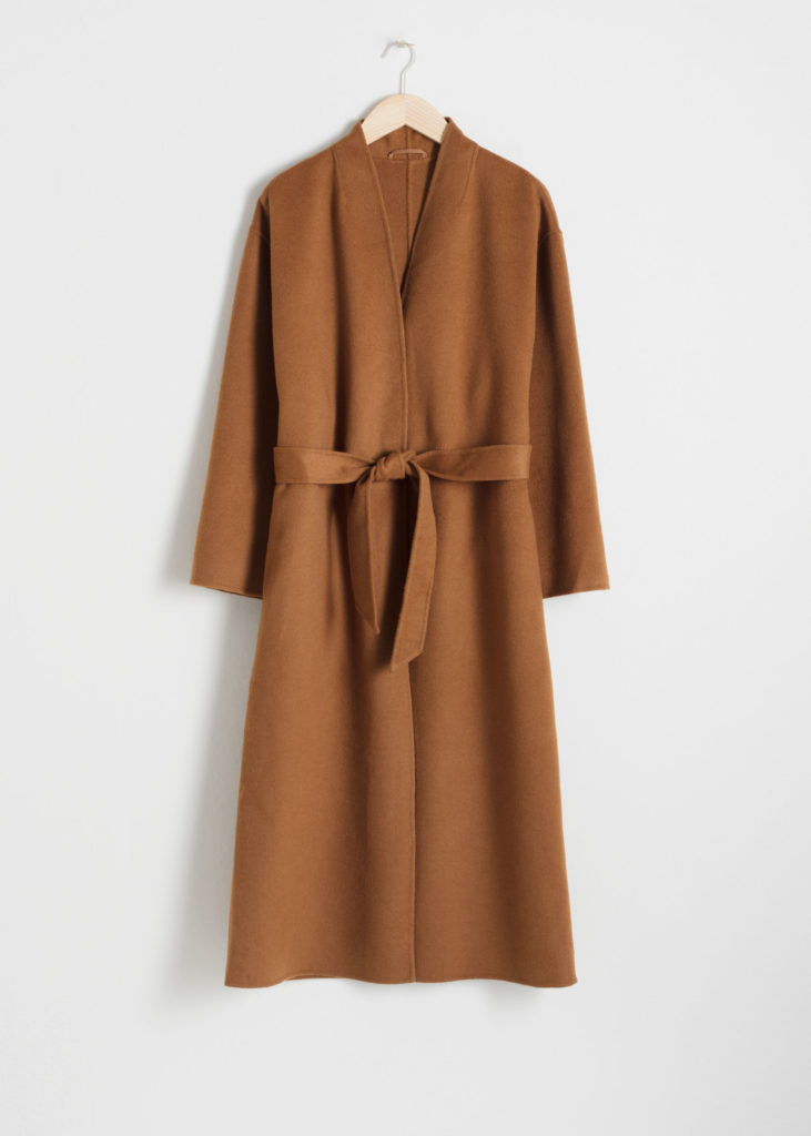 Camel Belted Wool Blend Coat