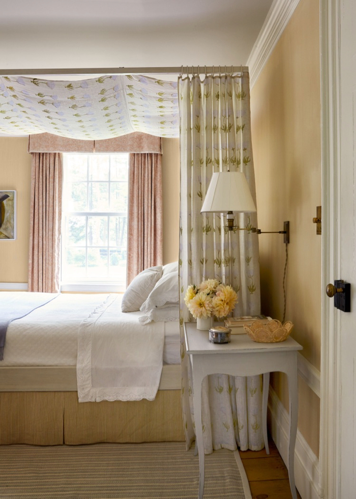 Canopy bed with floral bed hangings by McGrath II.
