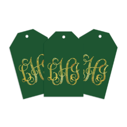 Green Custom Monogram Gift Tag