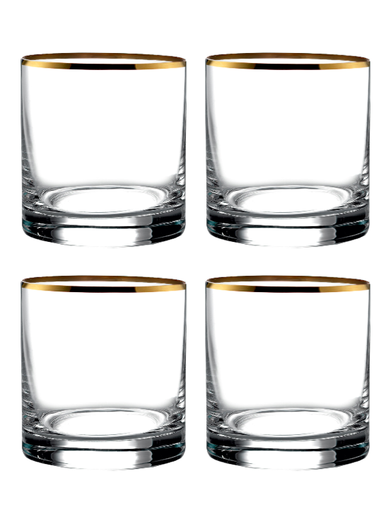 Double Old Fashioned Glasses with Gold Rim