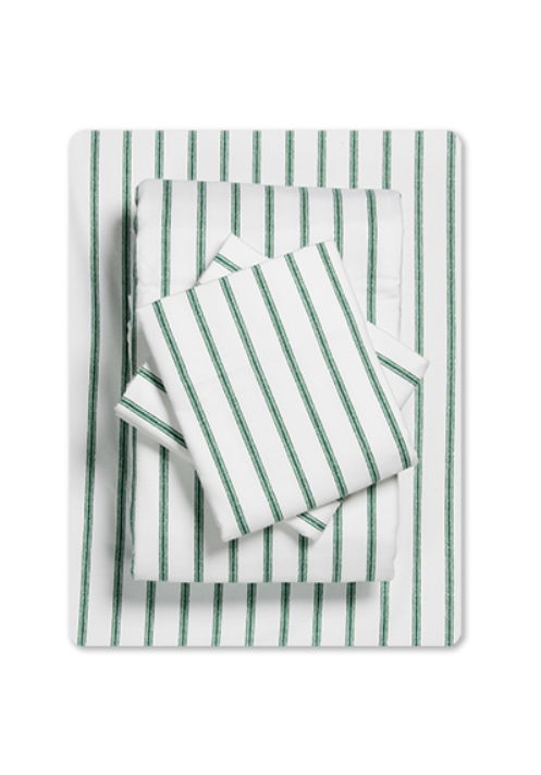 Forest Green Ticking Stripe Flannel Sheet Set