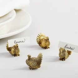Gold Turkey Place Card Holders