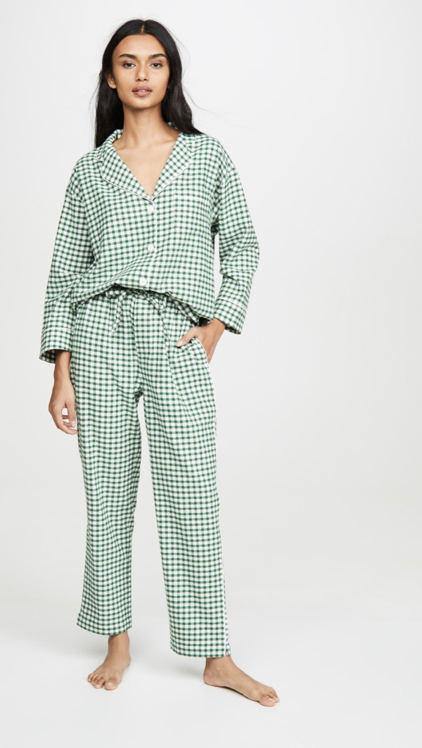 Green Gingham Flannel Pajama Set