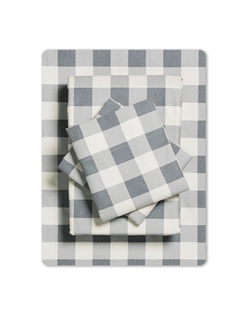 Grey Plaid Flannel Sheet Set