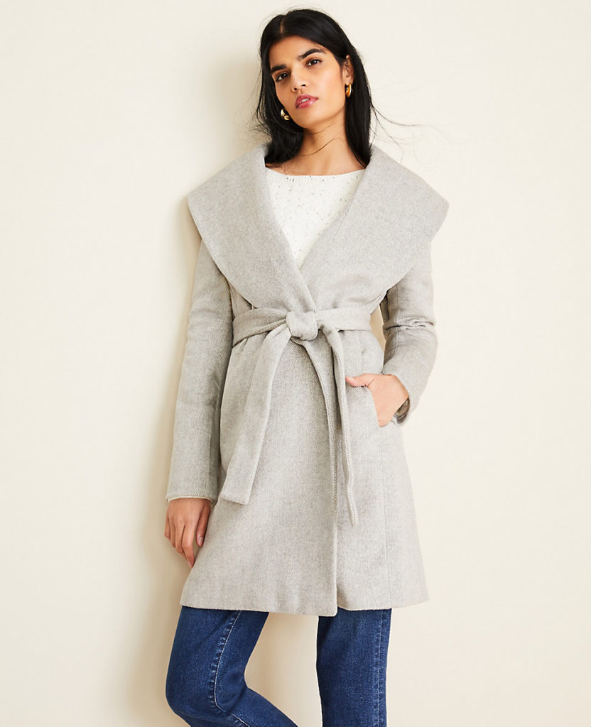 Herringbone Shawl-Collar Wrap Coat