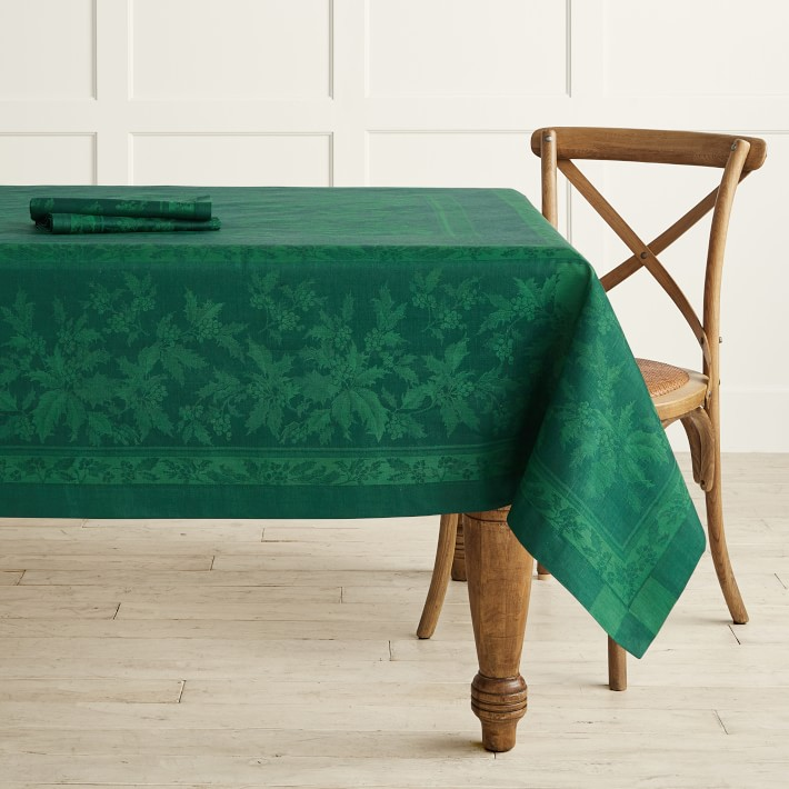 Green Holly Leaves Tablecloth