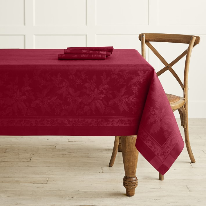 Red Holly Leaves Tablecloth