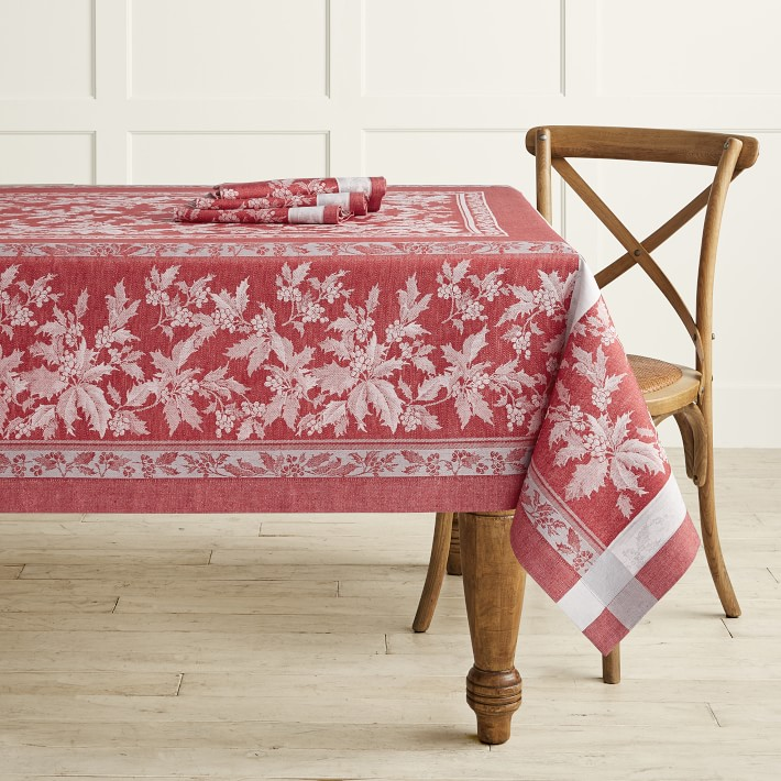Red Holly Leave Tablecloth