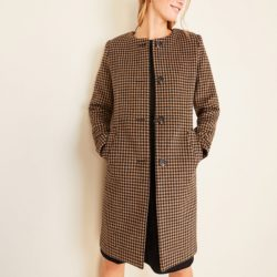 Houndstooth Jewel Neck Coat