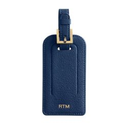 Navy Blue Leather Luggage Tag