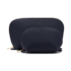 Navy Blue Leather Travel Case Set
