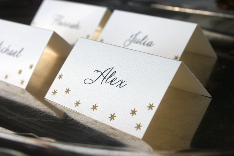 Gold Stars Place Cards