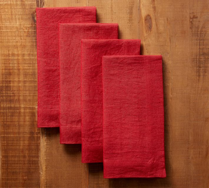 Solid Red Linen Napkin