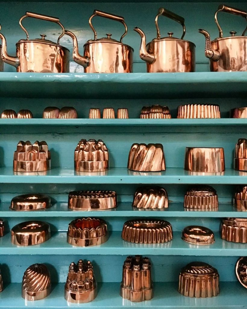 Antique Copper Jelly Molds from Raby Castle in Country Durham, England.