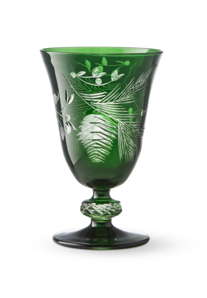 Green Pinecone Cut Goblets Set