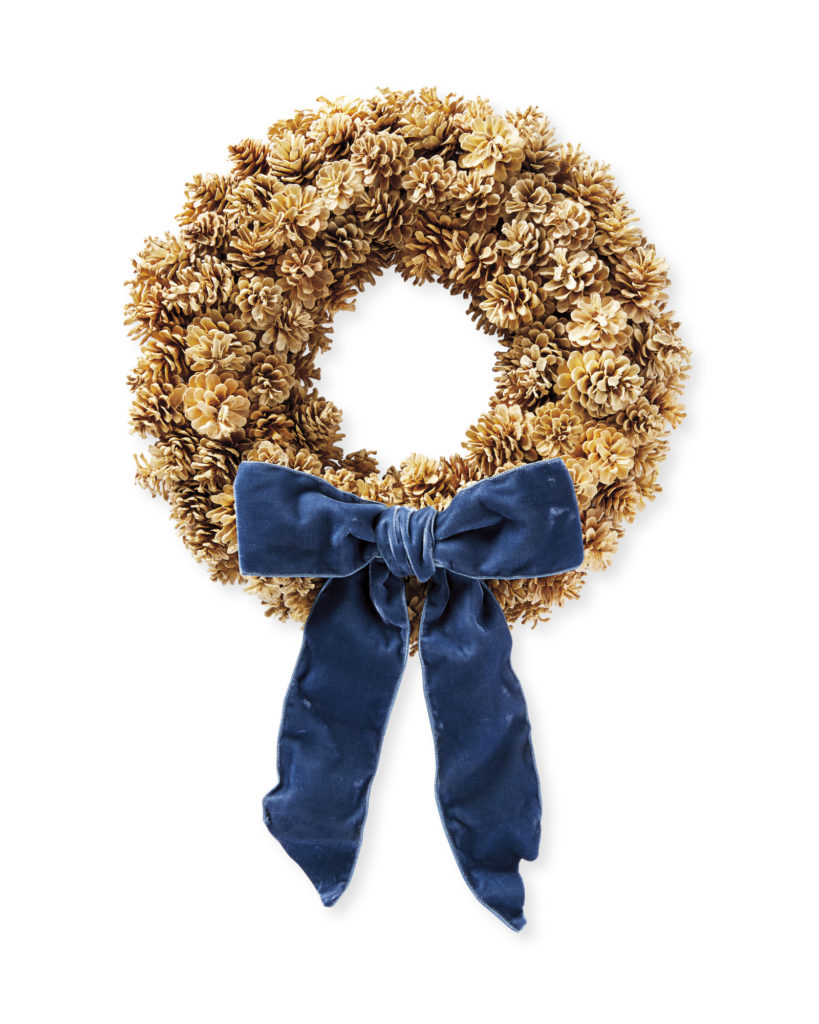 Pinecone Holiday Christmas Wreath with Blue Velvet Ribbon Bow