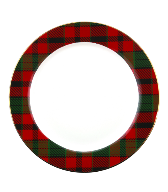 Plaid Rim Ceramic Dinner Plates
