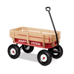 Red Wagon with Wooden Sides