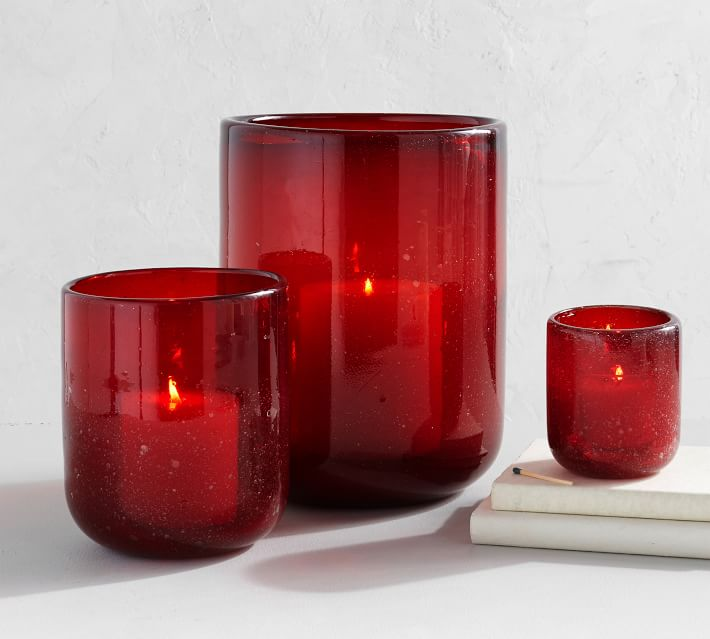 Red Bubble Glass Candle Holders