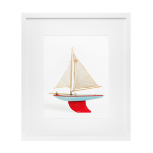 Red and Blue Boat Print