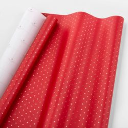 Red and Gold Swiss Dot Gift Wrap