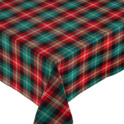 Red and Green Holiday Plaid Tablecloth