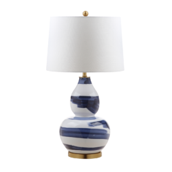 Blue and White Curved Table Lamp