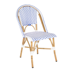 Blue and White Square Pattern Stacking Chair