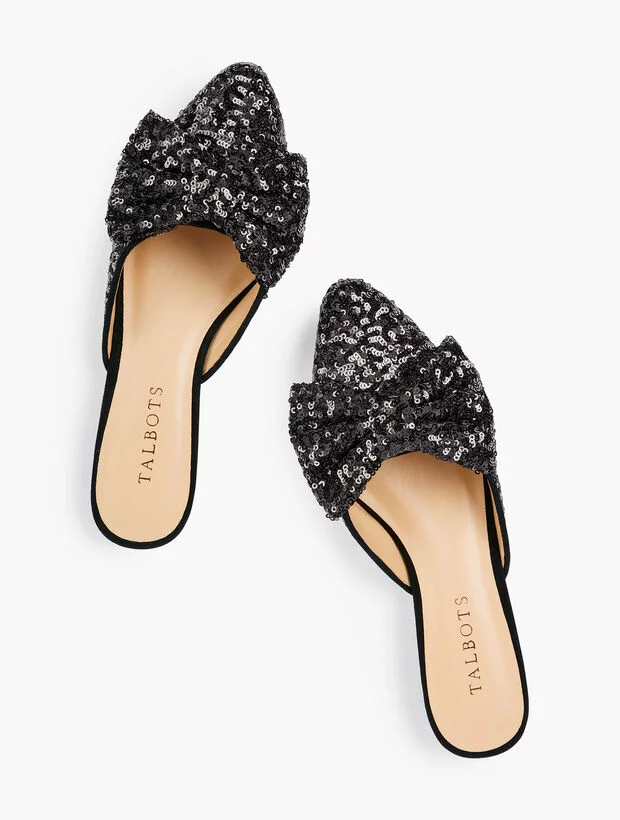Sequin Bow Mules Flats