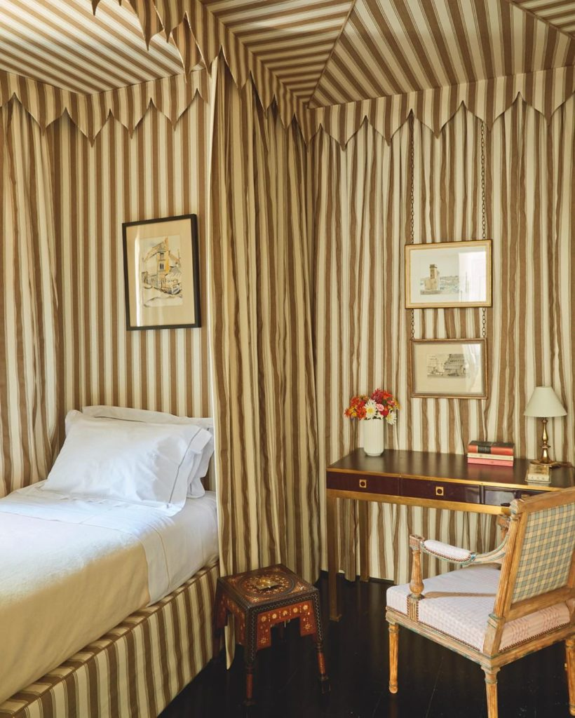 Tented Bedroom with Striped Fabric walls in the Tangier home of Veere Grenney from the book Inside Tangier
