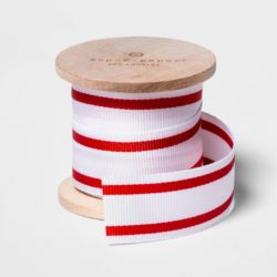 White with Red Stripes Grosgrain Ribbon