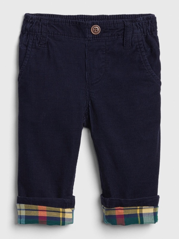 Baby Boy Plaid-Lined Cords