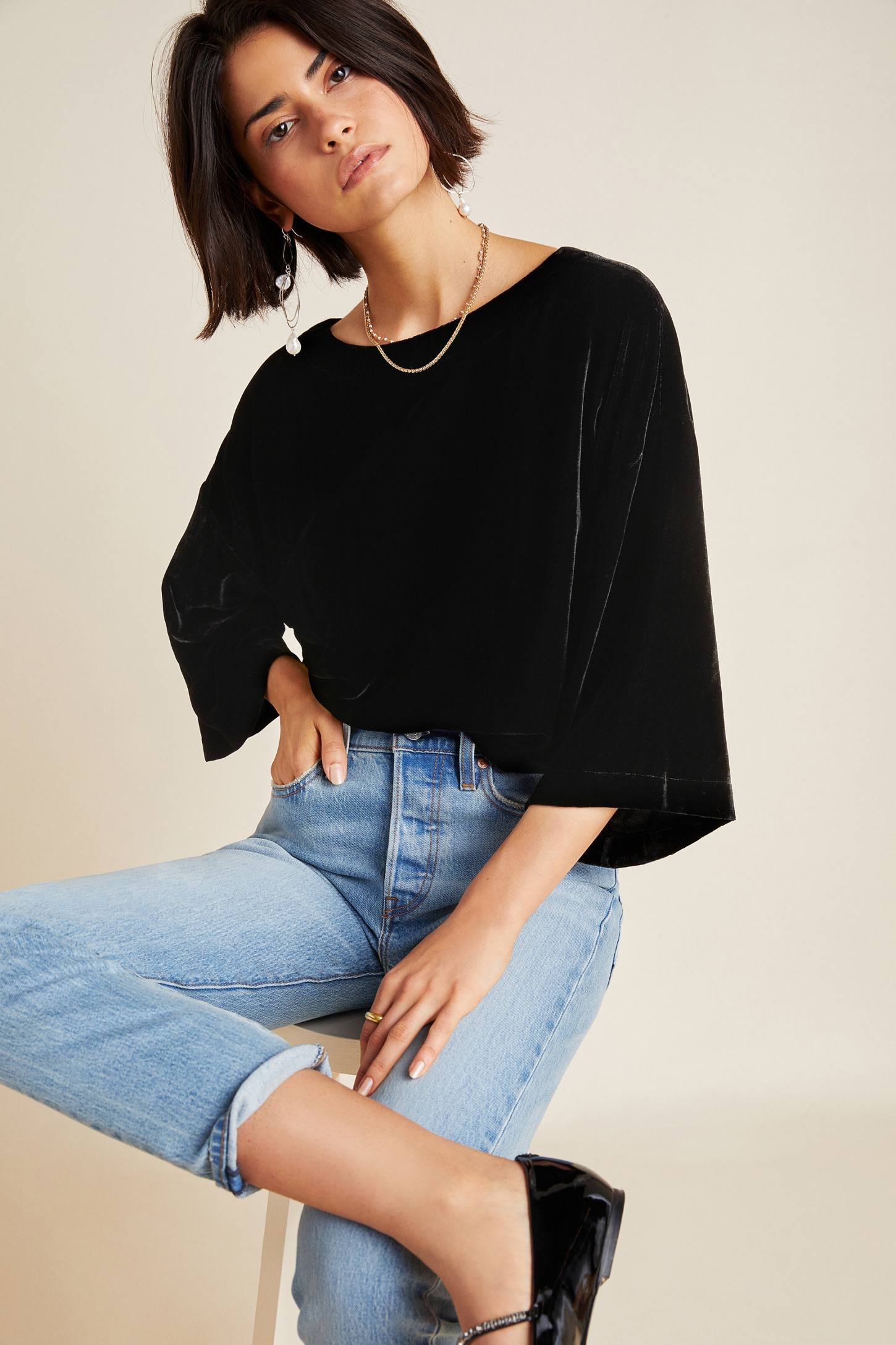 Black Velvet Flutter Sleeve Top