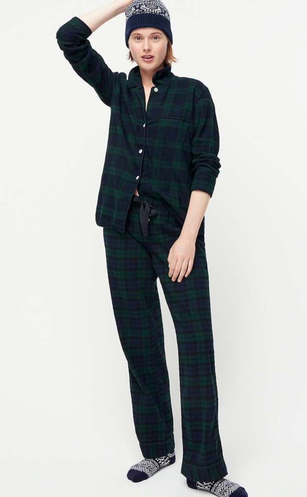 Black Watch Plaid Flannel Pajama Set