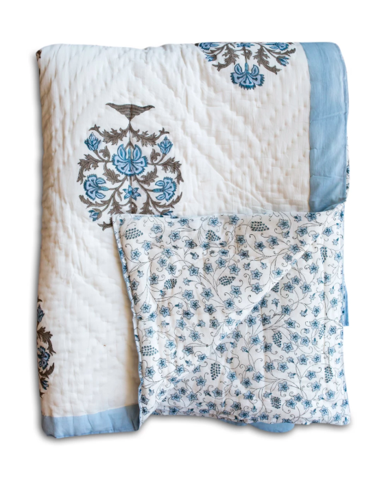 Blue and White Block Print Floral Quilt