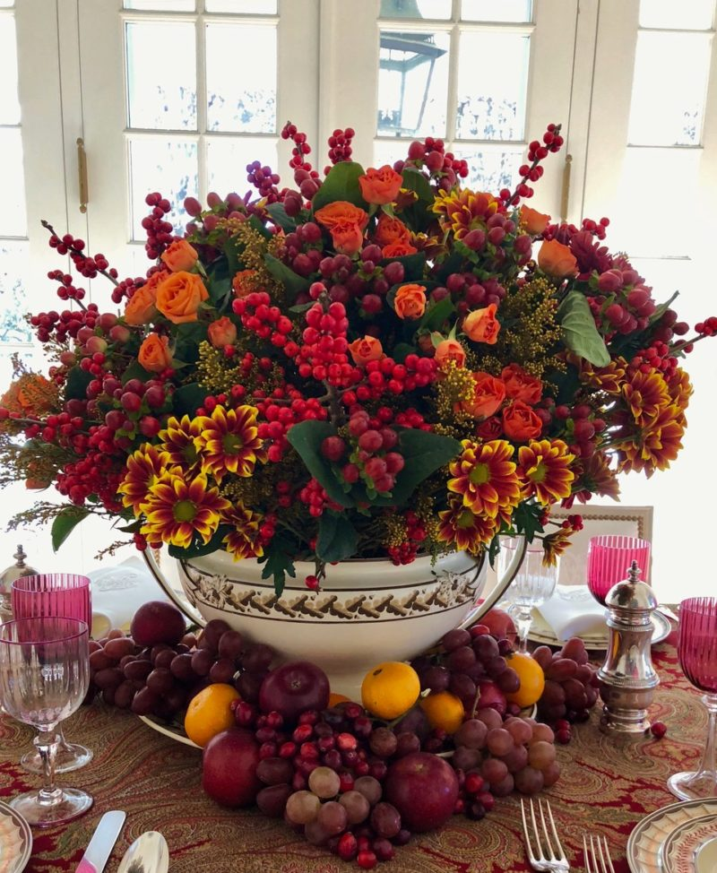 Thanksgiving table fruit centerpiece by Carolyne Roehm