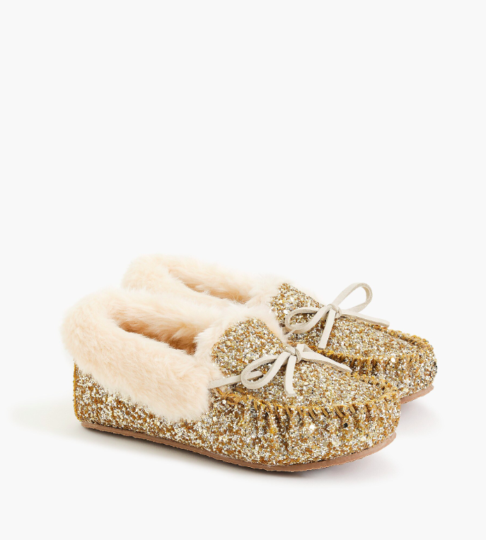 Girls' Gold Glitter Covered Moccasins Slippers