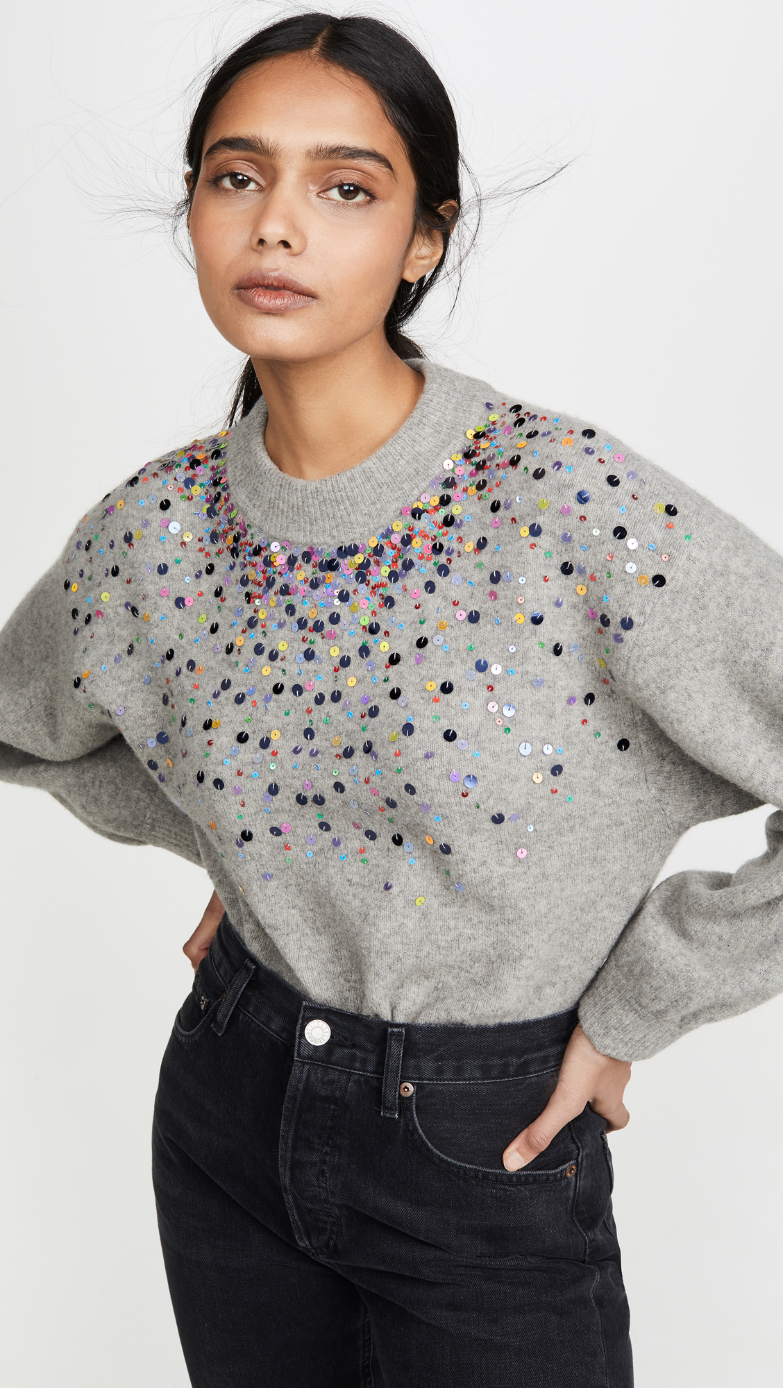 Sequin Embellishment Crewneck Sweater