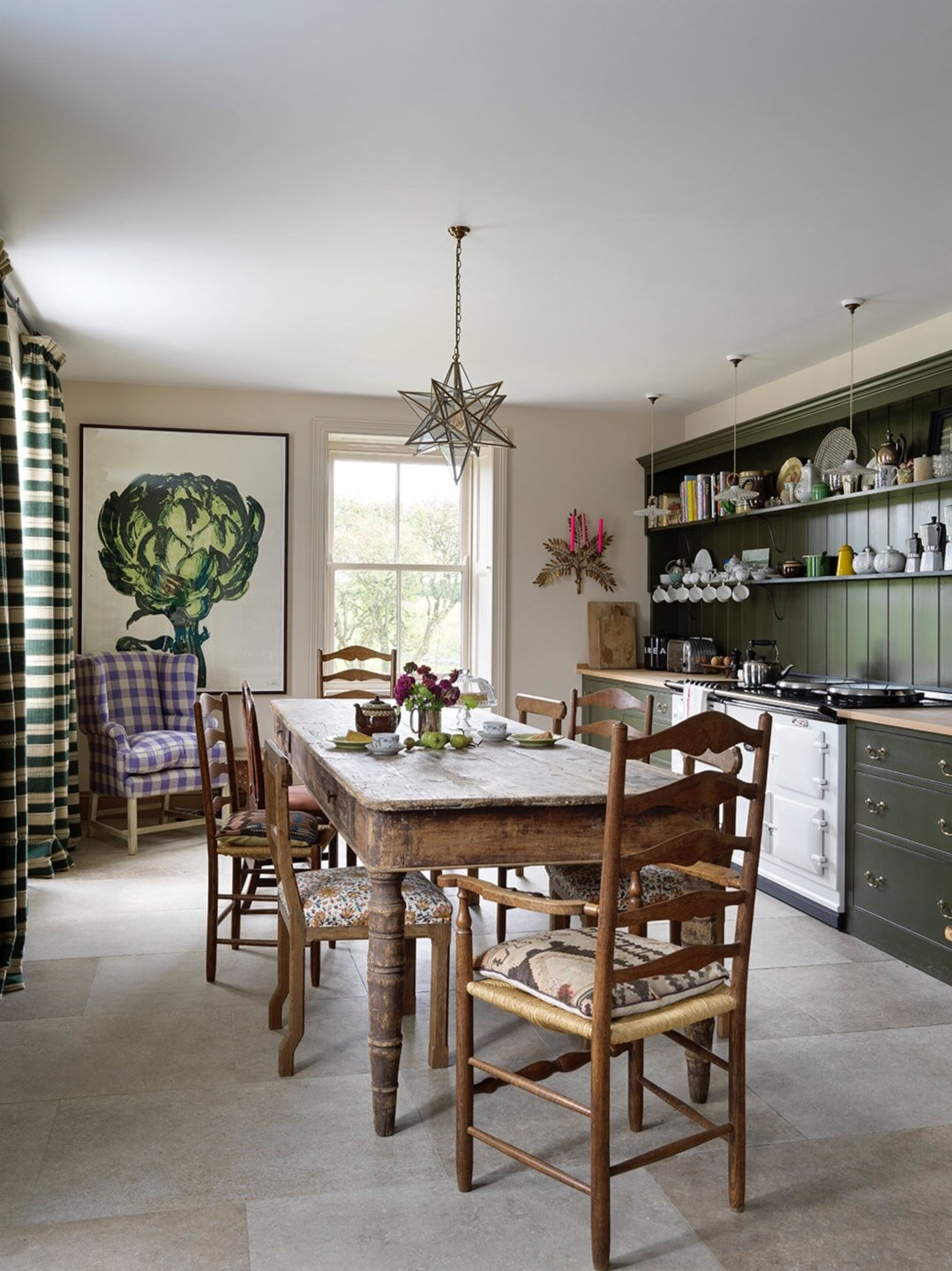 Green-kitchen-cabinets-farmhouse-dining-table-eat-in-rita
