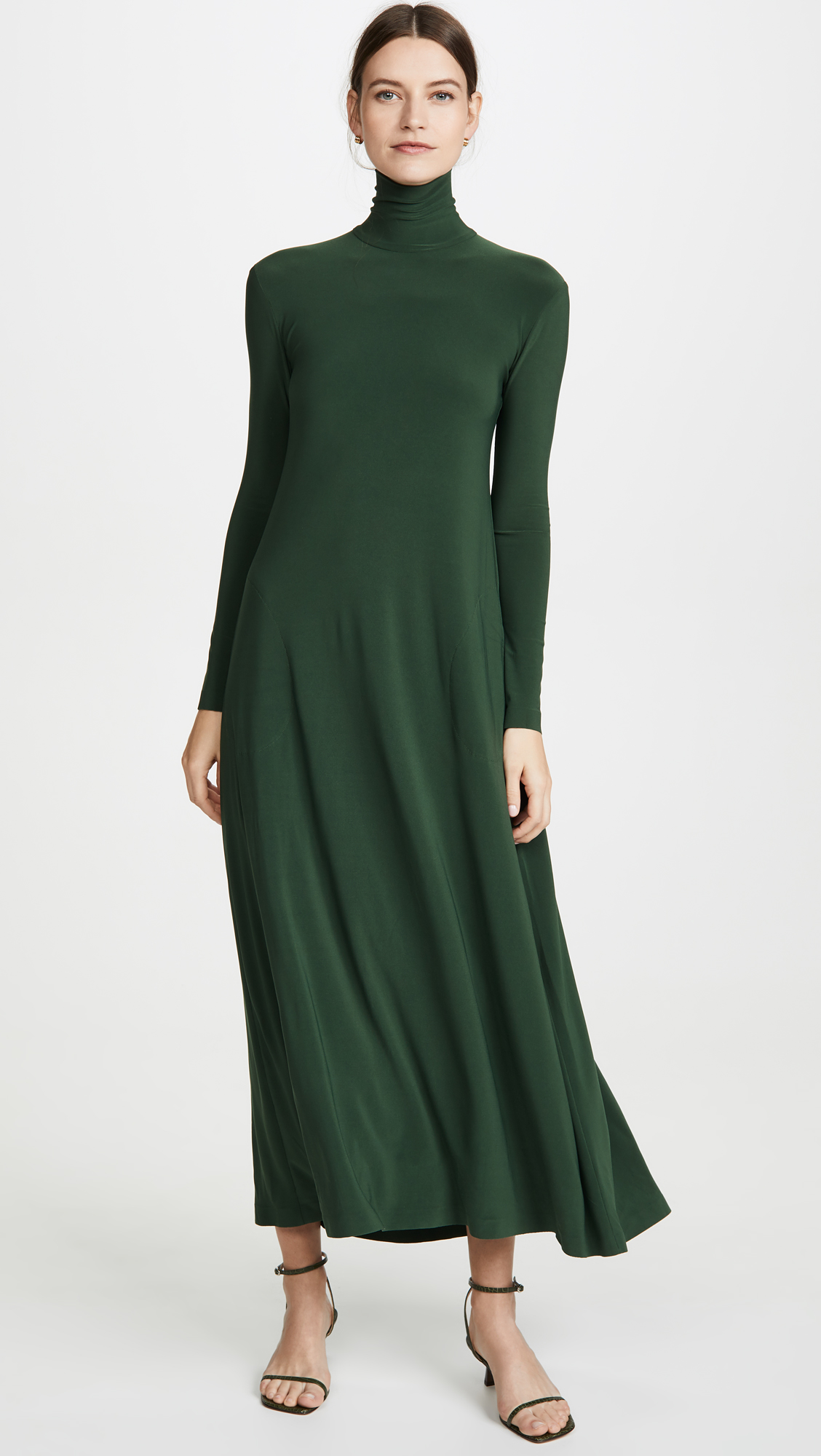 Green Turtleneck Swing Dress