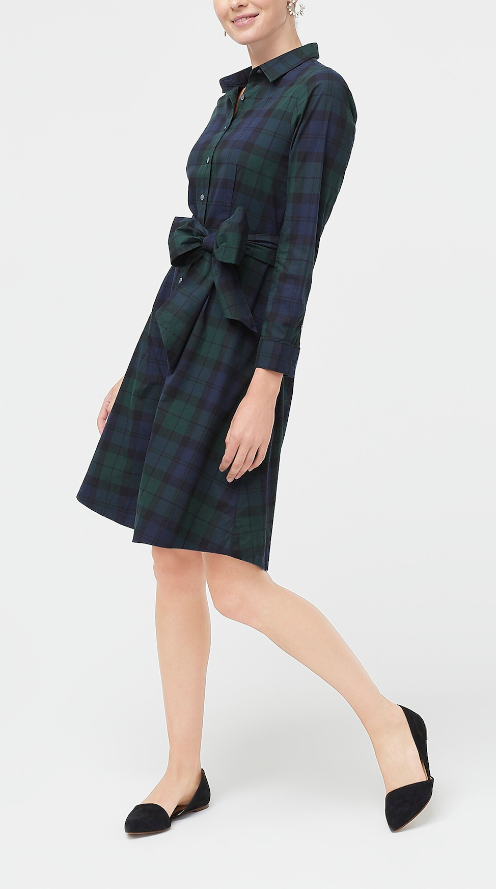 Black Watch Plaid Shirtdress