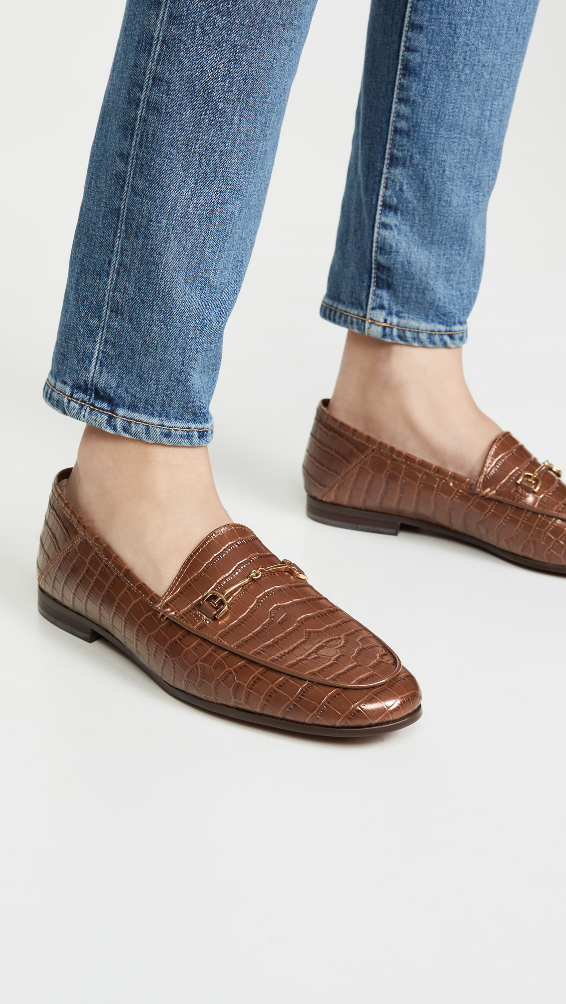 Brown Croc Embossed Loafers