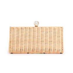Rattan and Pearl Clutch